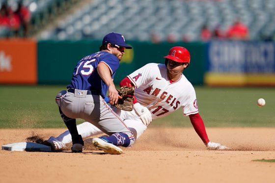 8回に今季23個目となる盗塁を決めたエンゼルス・大谷翔平【写真:AP】