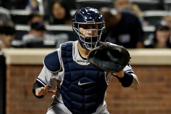 返球に構えるヤンキースのゲーリー・サンチェス【写真:AP】