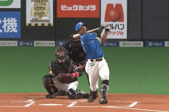 1号2ランを放った日本ハム・今川優馬【画像:パーソル パ・リーグTV】