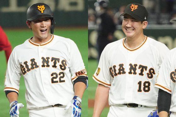 巨人・小林誠司(左)と菅野智之【写真:荒川祐史】
