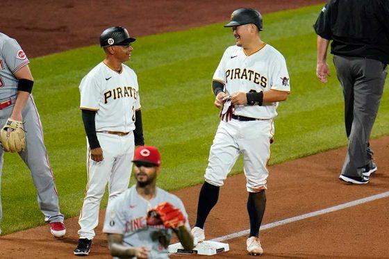 第2打席で適時三塁打を放ったパイレーツ・筒香嘉智【写真:AP】