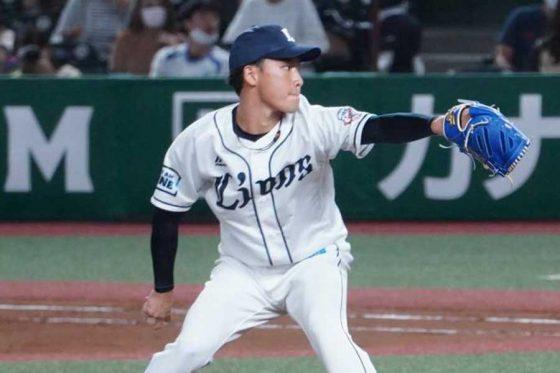 4番手で登板した西武・水上由伸【写真:宮脇広久】