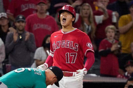 右翼線三塁打を放ったエンゼルス・大谷翔平【写真:AP】