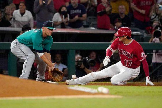 適時三塁打を2本放つ活躍を見せたエンゼルス・大谷翔平【写真:AP】