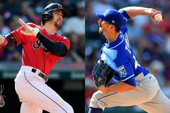 インディアンスのブラッドリー・ジマー(左)が兄のカイルから本塁打を放った【写真:Getty Images】