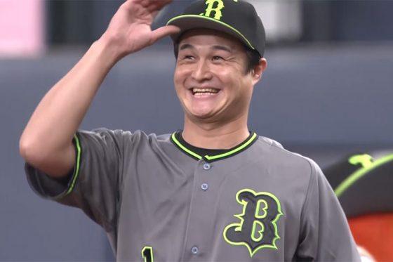 始球式に登場した「ティモンディ」の高岸宏行さん【画像:パーソル パ・リーグTV】