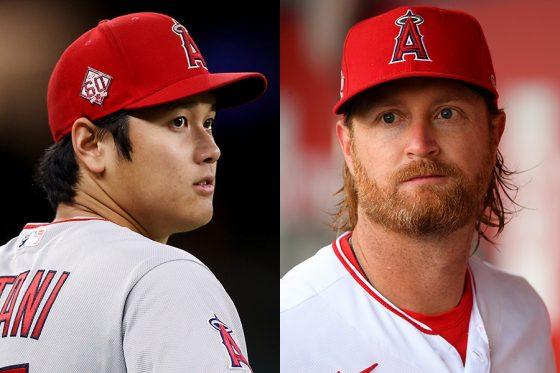 エンゼルス・大谷翔平(左)とアレックス・コブ【写真:Getty Images】