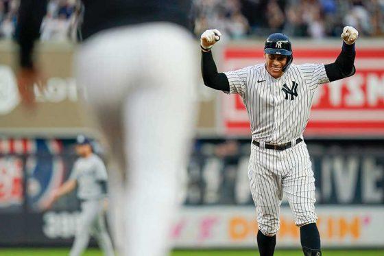 サヨナラ打を放ったヤンキースのアーロン・ジャッジ【写真:AP】