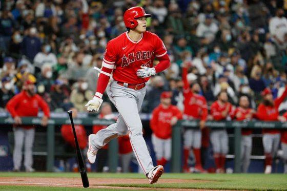 初回先頭打者本塁打を放ったエンゼルス・大谷翔平【写真:Getty Images】