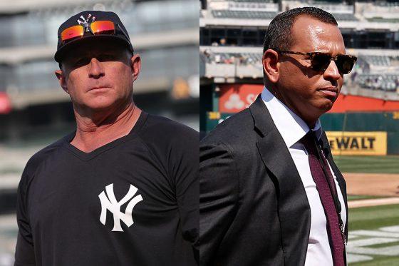 ヤンキースのフィル・ネビン三塁コーチ(左)とアレックス・ロドリゲス氏【写真:Getty Images】