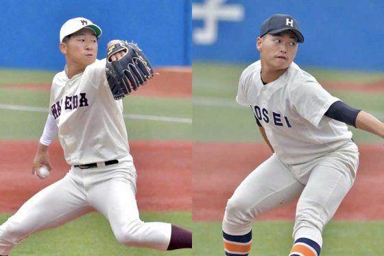 投手戦を繰り広げた早大・徳山壮磨(左)と法大・三浦銀二【写真:上野明洸】